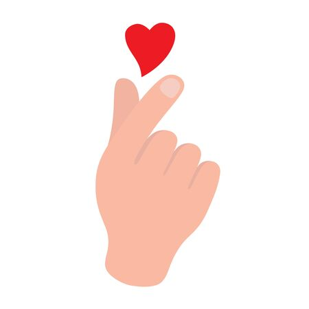 Korean symbol hand heart, a message of love hand gesture. Sign icon stylized for the web and print. The hand folded into a heart symbol. Ilustracja