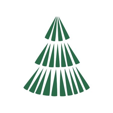 Green xmas tree isolated on white. Vector tree christmas green Çizim