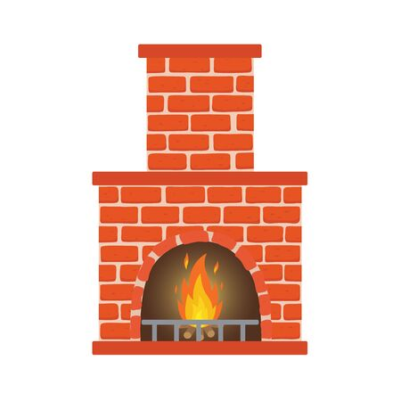 Winter interior bonfire. Classic fireplace made of red bricks, bright burning flame and smoldering logs inside. Home fireplace for comfort and relaxation.