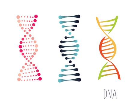 DNA molecule sign set, genetic elements and icons collection strand. Vector color gradient illustration. Ilustracja