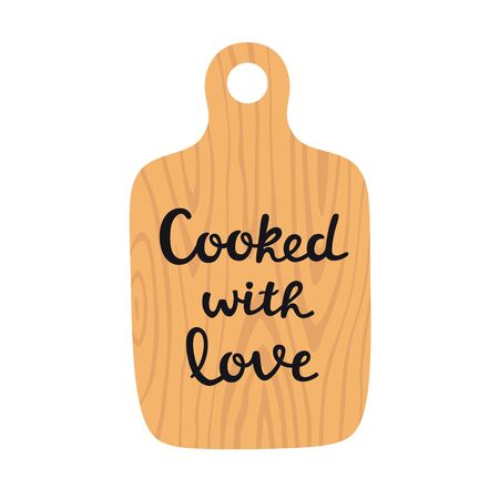 Wooden cutting board with lettering cooked with love vector illustration Ilustracja