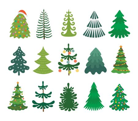 Christmas tree set. Decorated xmas trees. Winter holidays party green fir with garland decoration. Isolated vector illustration.