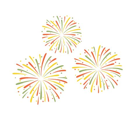 Vector illustration of colorful fireworks isolated on white background.