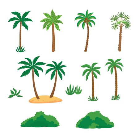 Set tropical palm trees with green leave and bushes.