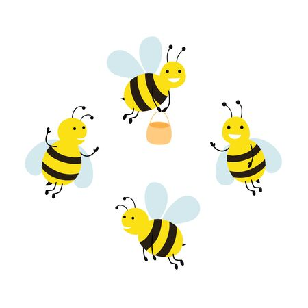 Funny cartoon bee vector collection isolated on white background.