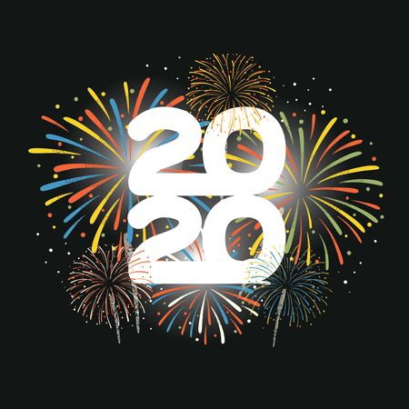 The year 2020 displayed with fireworks. New year and holidays concept. Vector illustration Çizim
