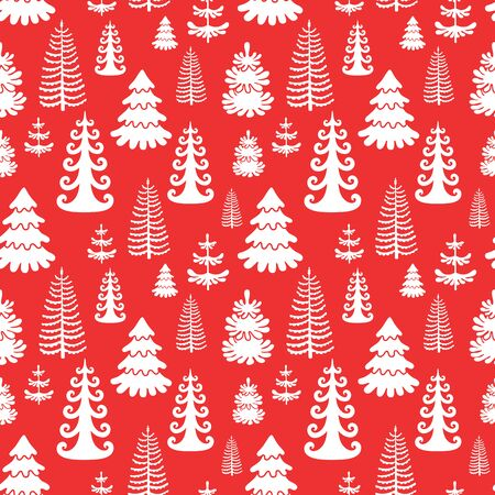 Red seamless pattern with christmas trees. EPS10 Ilustracja