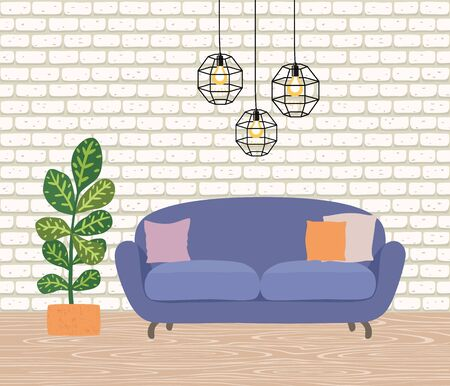 The interior of the room with a yellow sofa, lamps and a houseplant. Wooden floor and wall