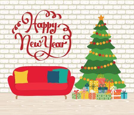 Christmas room interior. Christmas tree, gifts, decoration, sofa. Cozy noel xmas night celebration interior. Happy new year greeting card.