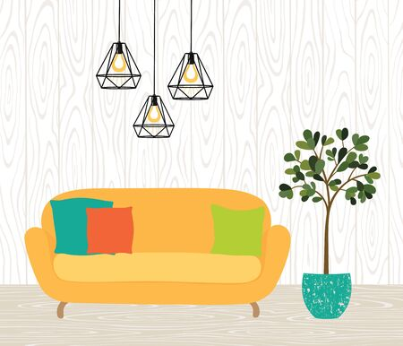 The interior of the room with a yellow sofa, lamps and a houseplant. Brick wall, wooden floor.