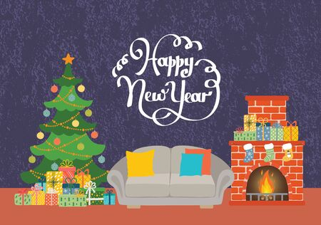 Christmas living room with sofa, fireplace, Christmas tree and gifts. Happy new year card