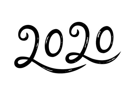Hand drawn lettering greeting card for 2020 Happy New Year