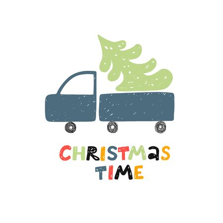 Christmas time greeting card. Car with Christmas tree. Vector illustration for kids