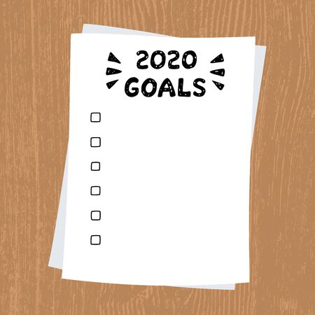 2020 New Year, Goals. Clipboard with white sheet. Text on paper on wooden background, written by hand. Lettering 2020 GOALS. Ilustracja