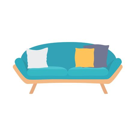 Sofa blue, colorful cartoon illustration vector. Comfortable lounge for interior design isolated on white background. Modern model of settee icon.