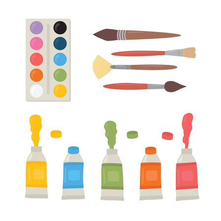 Painting tools elements cartoon colorful vector set. Art supplies paint tubes, brushes, watercolor, palette. Vector illustration isolated on white background Ilustracja