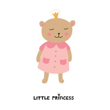 Cute bear girl with crown. Little Princess slogan. Vector illustration isolated on white background for kids Ilustracja