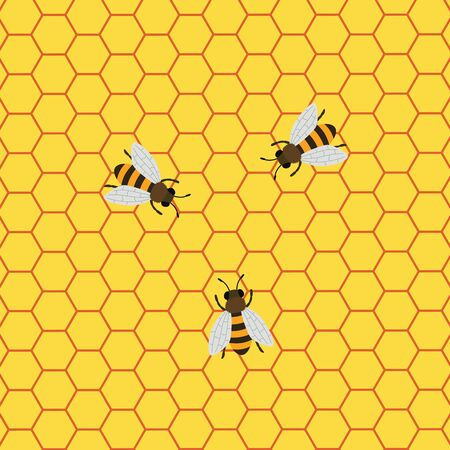 Honey Background with Bees Working on a Honeycomb Ilustração