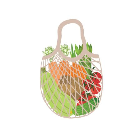 Mesh eco bag full of vegetables isolated on white background. Modern shopper with fresh organic food from local market. Vector illustration.