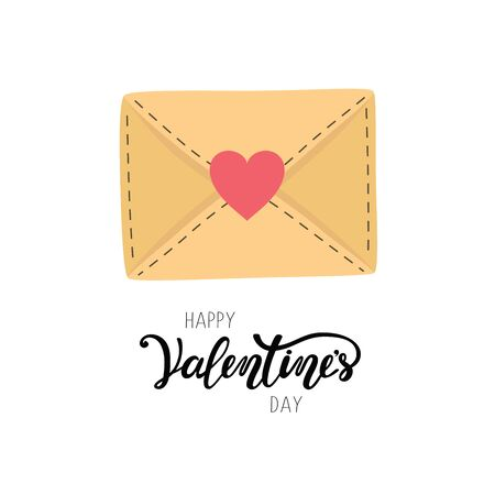 Happy Valentine s day greeting letter. Envelope heart