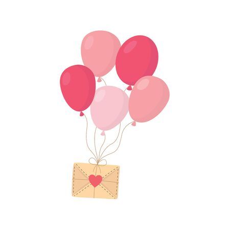 happy valentines day romantic message envelope and balloons heart card vector illustration isolated on white background.