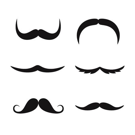 Set of mustaches isolated on white background.