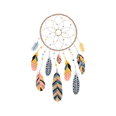 Dream catcher with feathers, jewels and colorful gemstones. Astrology, spirituality symbol. Ethnic tribal element. Vector illustration isolated on white background. Ilustrace