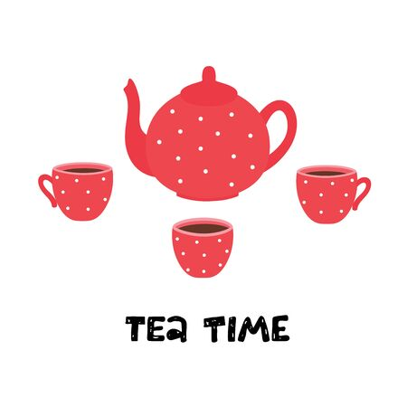 Tea time. Teapot and cups. Vector illustration