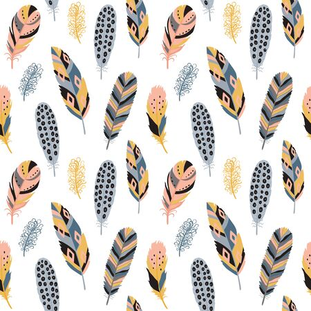 Seamless pattern with feather. Vector illustration on white background. Ilustracja