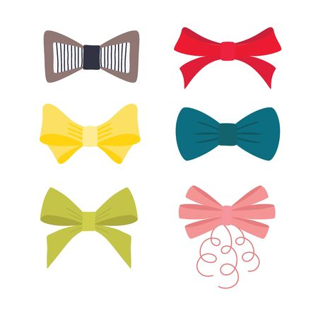 Set multicolor different bow. Vector illustration isolated on white background