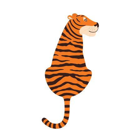 Tiger sitting view from the back. Vector illustration isolated on white background.