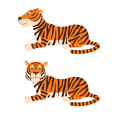 Adult big red tiger lies on ground wildlife and fauna theme cartoon animal design flat vector illustration isolated on white background Ilustracja