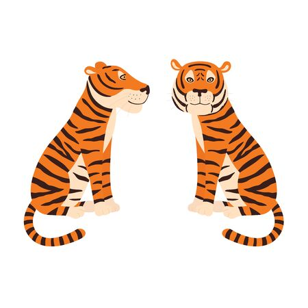 Orange tiger sitting. Colorful frendly tiger. Side and front view. Vector illustration isolated on white background