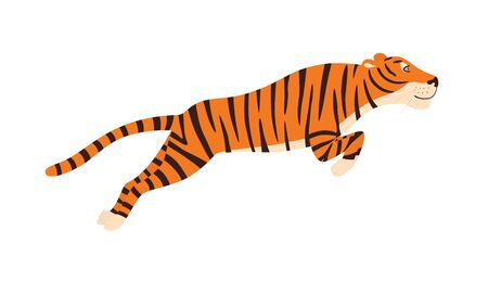 Tiger jumping vector illustration isolated on white background. EPS10