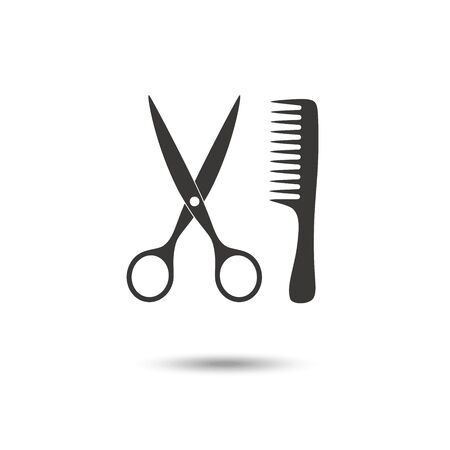 Comb and scissors icon vector illustration isolated on white background. EPS10