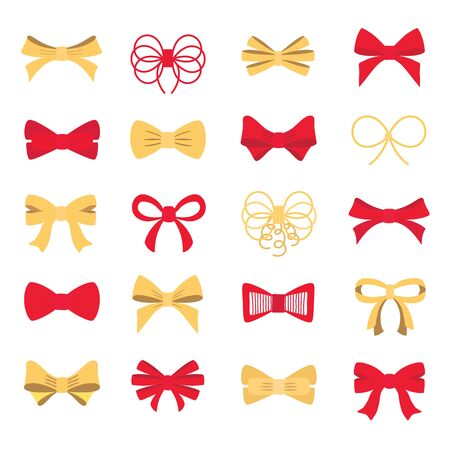 Red and gold bow set for your design. Vector illustration.
