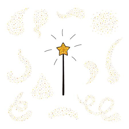 Magic wand and gold dust set. Vector illustration.