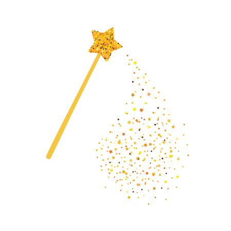 Magic wand and gold sequins. Vector illustration. Ilustracja