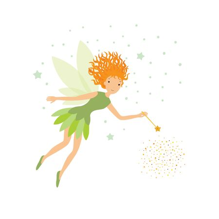 Cute green fairy in flight with a magic wand Ilustracja