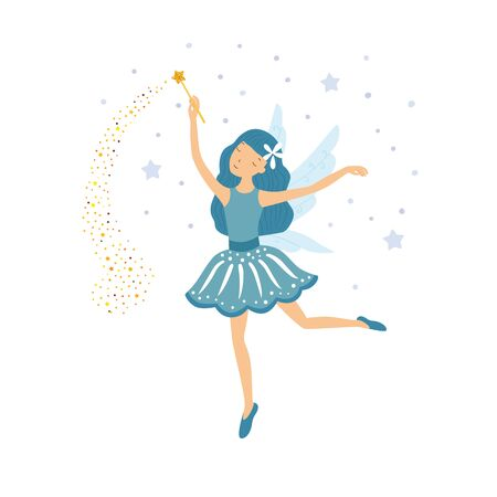 Cute blue fairy in flight with a magic wand. Vector illustration isolated on white background. Ilustracja