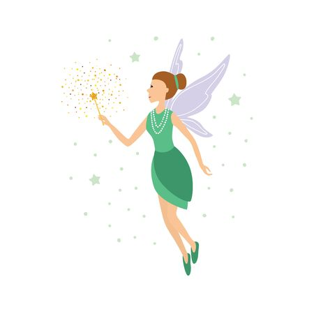 Cute green fairy in flight with a magic wand. Vector illustration isolated on white background. Ilustracja
