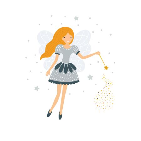 Cute fairy in flight with a magic wand. Vector illustration isolated on white background.