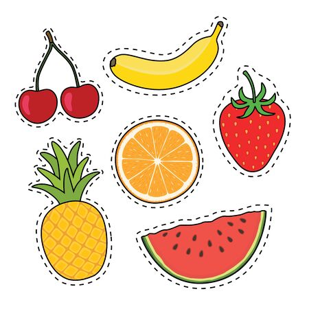 Fruit on stickers. Vector illustration isolated on white background. EPS10
