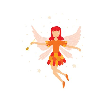 Cute orange fairy in flight with a magic wand
