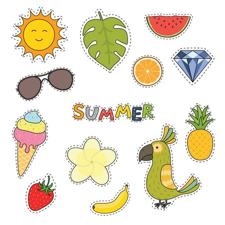Set of cute summer stickers flower, fruits, parrot, ice cream, sun, diamond, sunglasses. Bright summertime poster. Collection elements for beach party.