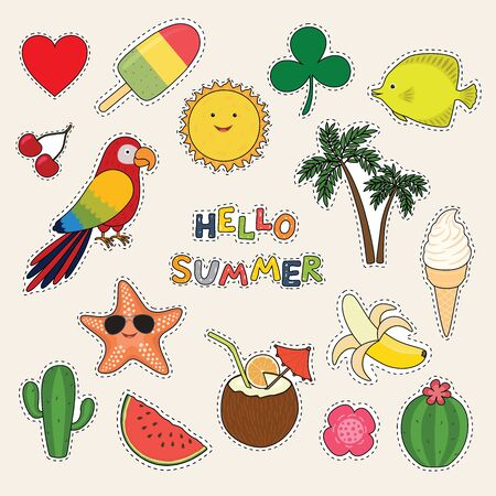 Set of cute summer stickers palms, fruits, parrot, ice cream, sun, cactus. Bright summertime poster. Vector illustration. Ilustracja