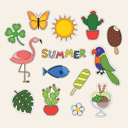 Set of cute summer stickers, fish, flamingo, parrot, ice cream, sun, cactus. Bright summertime poster Vector illustration