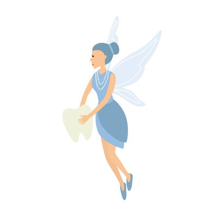 Tooth fairy. Vector illustration isolated on white background.