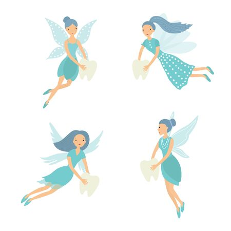 Set tooth fairy. Vector illustration isolated on white background.