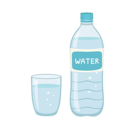 Bottle water natural and glass. Vector illustration isolated on white background. EPS10 Ilustracja